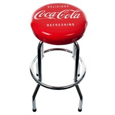 "<strong>Trademark Global</strong> Coca-Cola 30.5"" Delicious Refreshing Vintage Chrome Bar Stool with Cushion"