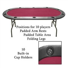 Full Size Texas Hold'em Burgundy Felt Poker Table