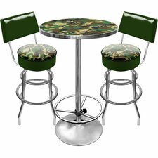 Hunt Camo Game Room 3 Piece Pub Table Set