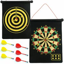 Magnetic Roll-up Dart Board and Bullseye Game with Darts