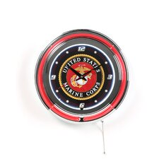 "United States Marine Corps 14.5"" Double Ring Neon Wall Clock"