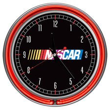 "NASCAR 14.5"" Double Ring Neon Wall Clock"