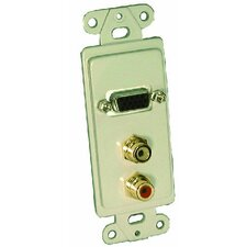 Single Gang Wall Plate (HD15F(1), RCA(2) Passthru)