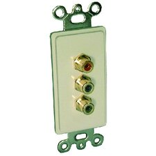 Single Gang Decora Wall Plate in Ivory (RCA(3) RGB- Passthru)