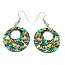 Round Cutout Abalone Shell Dangle Earrings
