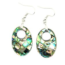 Abalone Shell Silvertone Copper Dangle Earrings