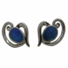 Boulder Sterling Silver Opal Stud Earrings