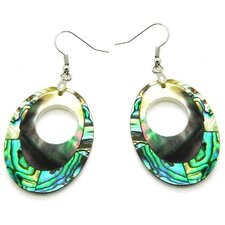Fashion Abalone and Shell Oval Dangle Fashion Earrings