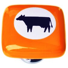 "New Vintage 1.25"" Cow Cameo Square Knob"