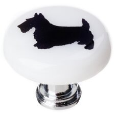 "New Vintage 1.25"" Scottie Dog Round Knob"