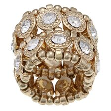 <strong>Zirconmania</strong> Goldtone Crystal 2-Row Disc Stretch Fashion Ring