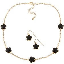 Goldtone Enamel Daisy Necklace and Earring Set