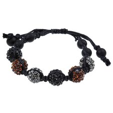 Alternating Pave Crystal Beaded Macrame Adjustable Bracelet