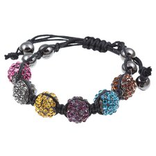 Pave Multi-Color Crystal Beaded Macrame Adjustable Bracelet