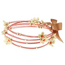 Stainless Steel and Large Cabochon Flower Bangles (Set of 4)