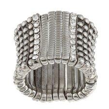 Celeste Satin Silver Crystal Stretch Ring