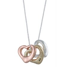 Multi-Tone Three Open Heart 'Love' Charm Necklace