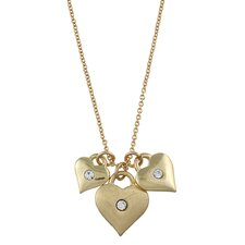 Gold Tone Triple Heart and Crystal 'Love' Charm Necklace