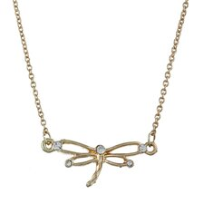 Gold Tone Crystal Dragonfly 'Cherish' Charm Necklace