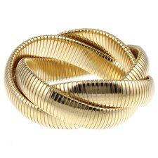 Gold Overlay Interlocked Omega Stretch Bracelet
