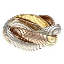 Overlay Tri-Tone Gold Interlocked Omega Stretch Bracelet
