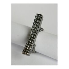 Gunmetal Pave Diamond Crystal Elongated Bar Stretch Ring