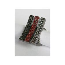 Gunmetal Pave Diamond Crystal Elongated Bar Stretch Rings (Set of 3)