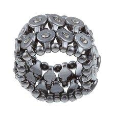 Gunmetal Black Crystal 2-row Disc Stretch Fashion Ring