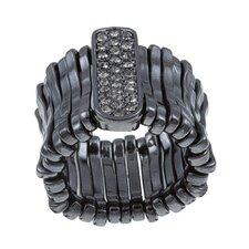 Gunmetal Black Crystal Stretch Fashion Ring