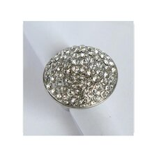 Silvertone Clear Crystal Pave Oversized Stretch Ring