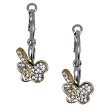 Two-tone Crystal Double Butterfly Earrings