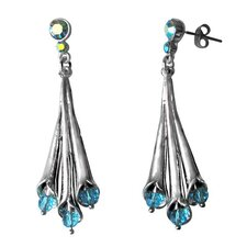 Crystal Bead Lily Dangle Earrings