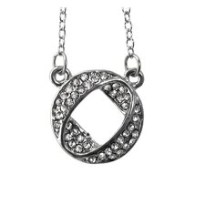 Crystal-studded Round Fold-over Necklace