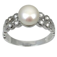 Freshwater Cultured Pearl - Cubic Zirconia Ring