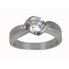 Round Cut Cubic Zirconia Twisted Band Engagement Ring