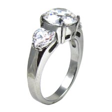 Round - Heart Cubic Zirconia Engagement Ring