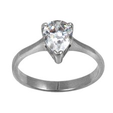 Pear Cut Cubic Zirconia Solitaire Engagement Ring