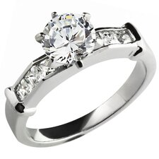 Stainless Steel Round Cut Cubic Zirconia with Princess Cut Side Stones Engagement Ring