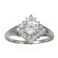 Diamond Shaped Cluster Cubic Zirconia Engagement-Style Ring