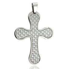 Flared Edge Carbon Fiber Cross Necklace