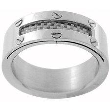 Carbon Fiber Peak-a-Boo Band Ring