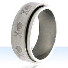Skull and Crossbones Spinner Band Ring