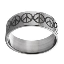 Etched Peace Sign Band Ring