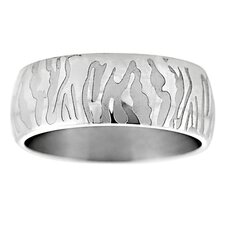 Etched Tiger Stripe Band Ring