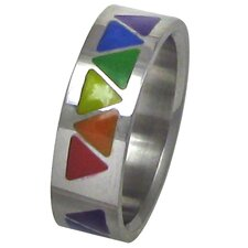 Rainbow Triangle Band Ring