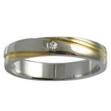 Two-tone Cubic Zirconia Band Ring