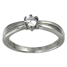 Cubic Zirconia Solitaire Band Ring
