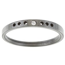 Ladies Crystal Notched Band Ring