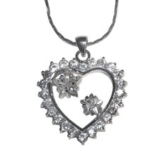 Cubic Zirconia Heart and Star Necklace Pendant