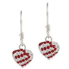 Crystal Striped Heart Dangle Earrings